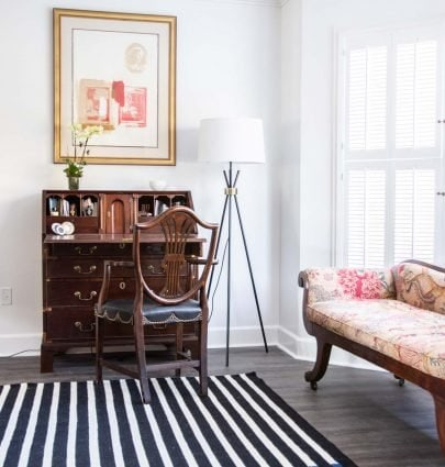 A first look at the living room with Nourison striped wool rugs by Calvin Klein in Buckhead living room on Thou Swell @thouswellblog