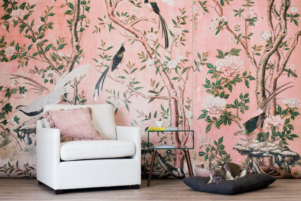 Pink landscape floral mural with trees and birds on Thou Swell #wallmural #pinkmural #landscapemural