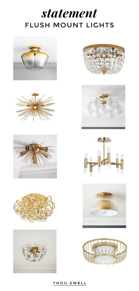 Statement flush mount lights in gold roundup for the entryway on Thou Swell #flushmount #flushmountlights #flushmountroundup