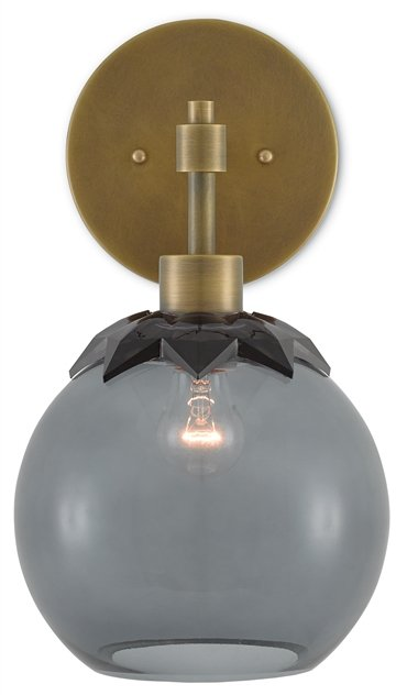 Sozanni wall sconce with smoky grey glass and brass backplate by Denise McGaha for Currey & Company on Thou Swell #homedecor #lighting #lightingdesign
