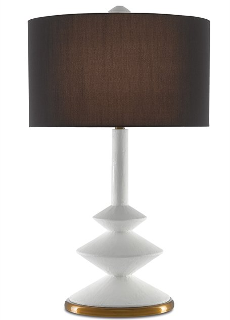Sabella table lamp with white modern angular base by Denise McGaha for Currey & Company on Thou Swell #homedecor #tablelamp #lightingdesign