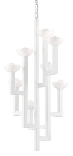 Coupe white modern chandelier by Denise McGaha for Currey & Company on Thou Swell #homedecor #lighting #lightingdesign