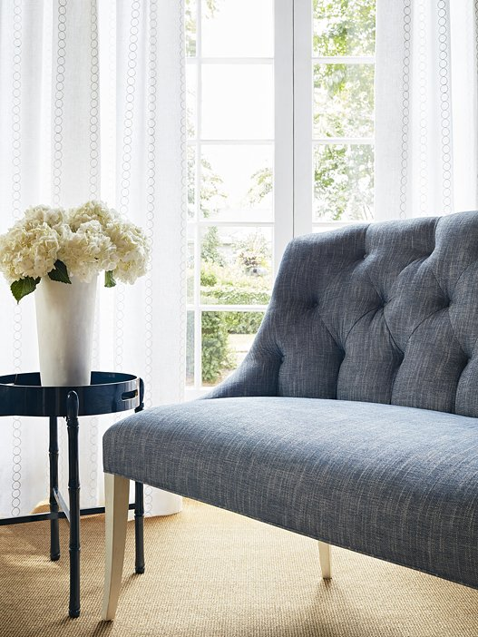 Mosaic collection by Crypton for Thibaut fabric, tufted settee bench with hydrangeas on Thou Swell #fabric #fabricdesign #crypton