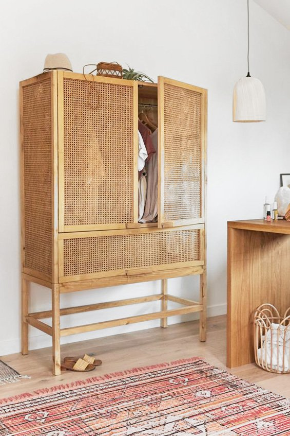 Rattan wicker cane armoire on Thou Swell, cane furniture roundup #canefurniture #wickerfurniture #rattanfurniture
