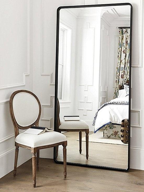 Rubbed bronze leaning floor mirror by Ballard Designs on Thou Swell @thouswellblog #homedecor #decor #floormirror