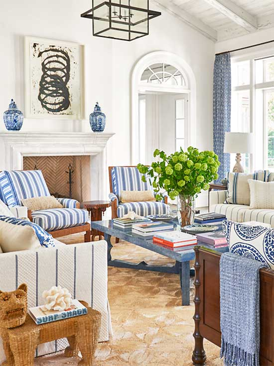 Blue and white striped living room in Palm Beach on Thou Swell #hometour #palmbeach #livingroom #coastaldecor