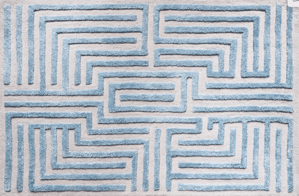 Kevin Francis Design Knossos Sky blue tufted maze area rug on Thou Swell #arearug #rugdesign #mazerug #bluerug