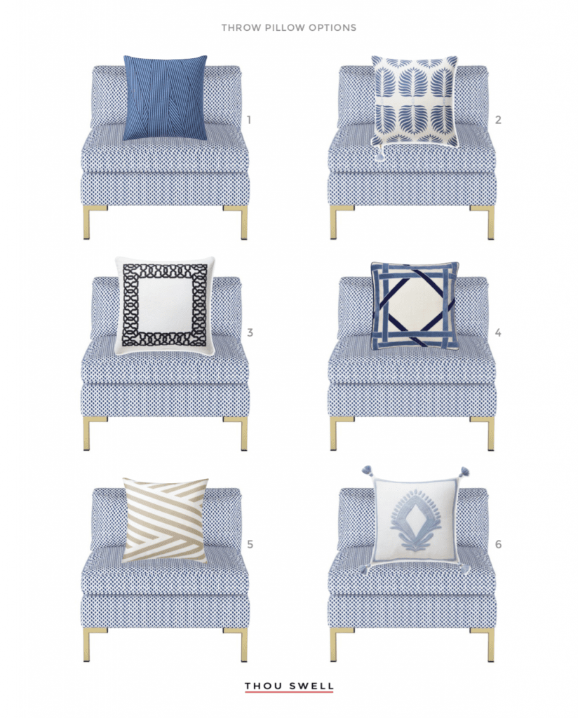 Blue and white throw pillows on Thou Swell #throwpillows #pillows #blueandwhite
