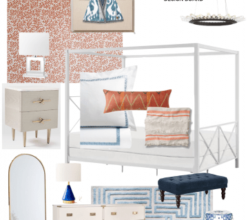 Master bedroom design board with coral wallpaper, blue and white decor, and white canopy bed on Thou Swell #bedroom #bedroomdesign #designboard #interiordesign