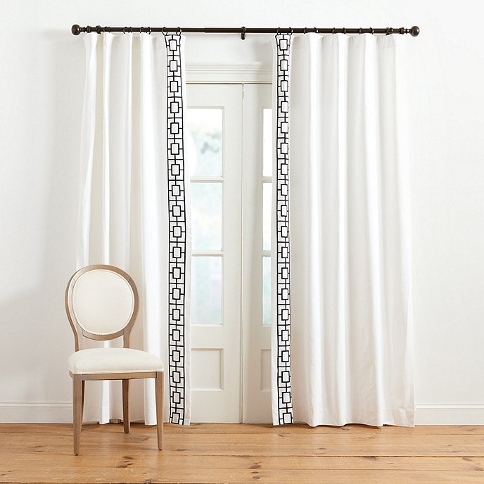 Embroidered trellis curtain panels on Thou Swell #curtains #windowtreatments