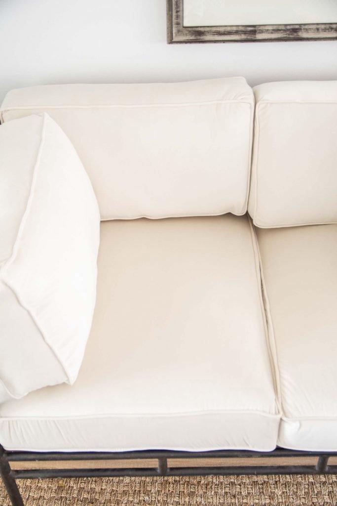 Cream velvet sofa upholstery in One Room Challenge living room design on Thou Swell #oneroomchallenge