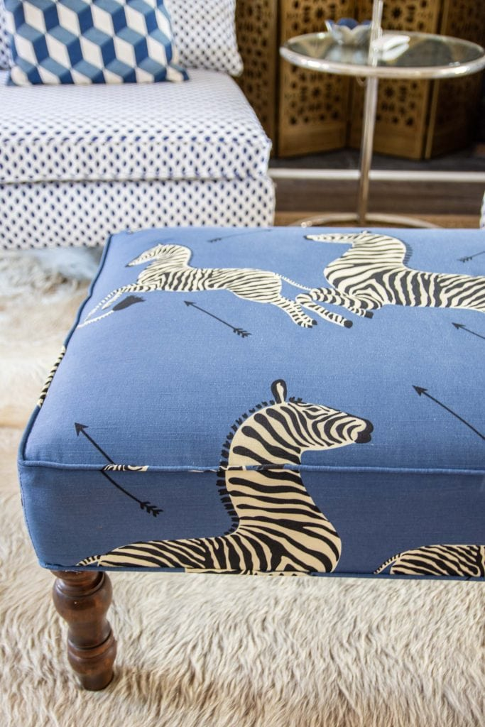 Blue Scalamandre Zebra fabric on ottoman upholstery in One Room Challenge living room on Thou Swell #oneroomchallenge