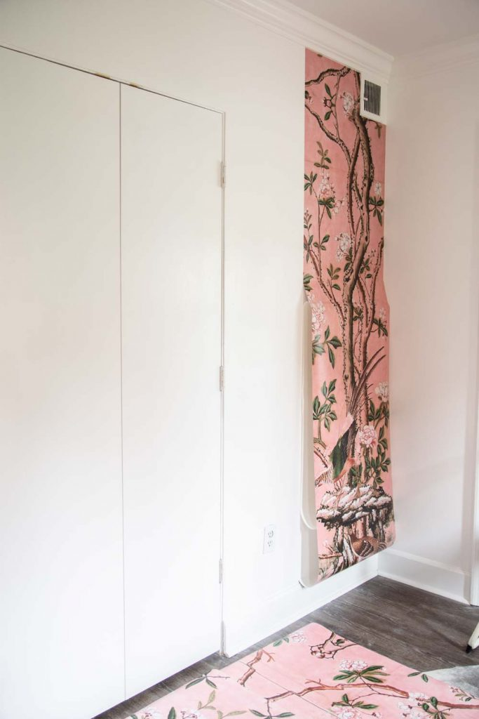 Pink floral landscape mural installation in entryway on Thou Swell #mural #muralinstall #wallpaper #wallpaperinstall #entryway