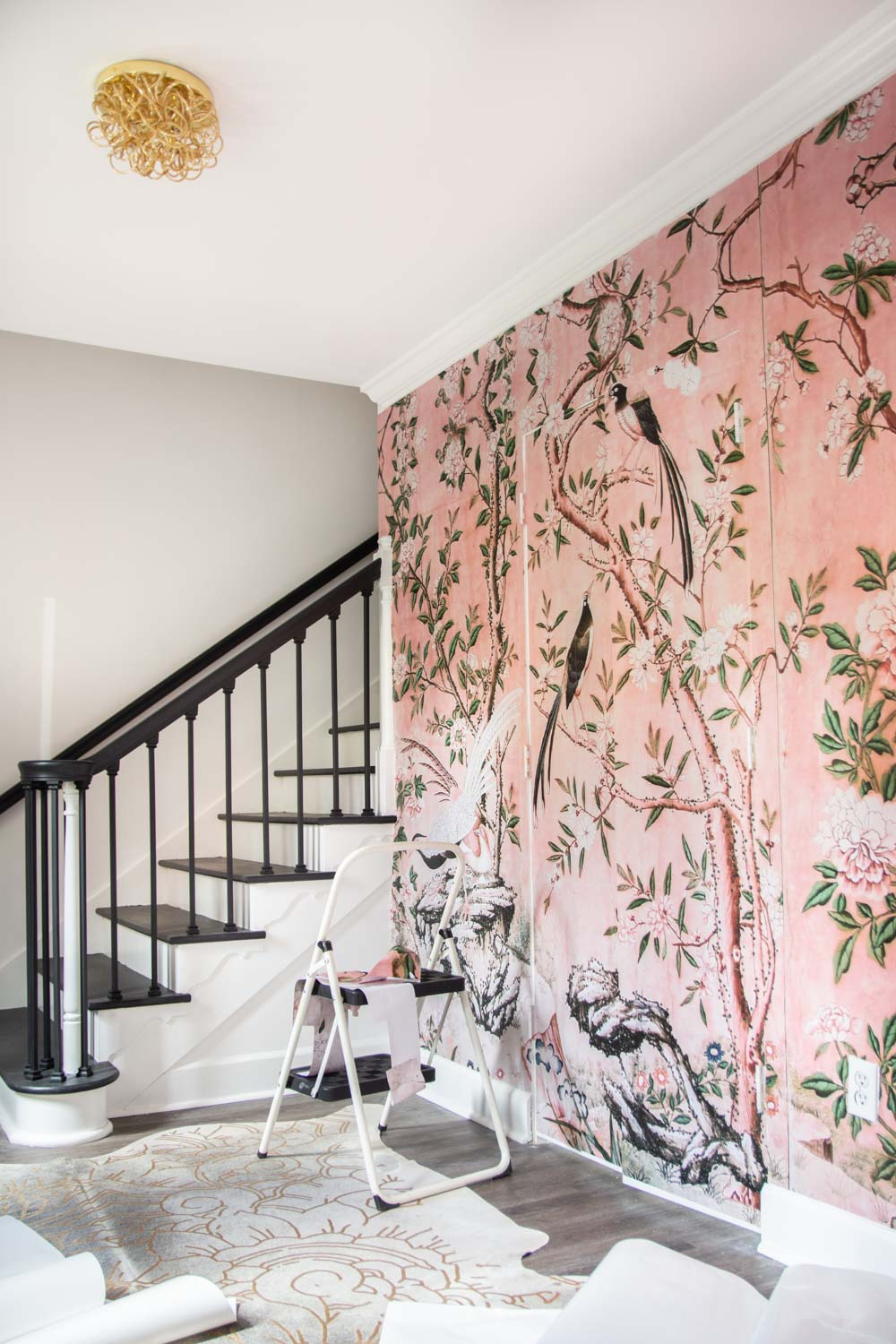 Living Room Wall Murals: Chinoiserie Landscape Pink Mural Entryway Installation