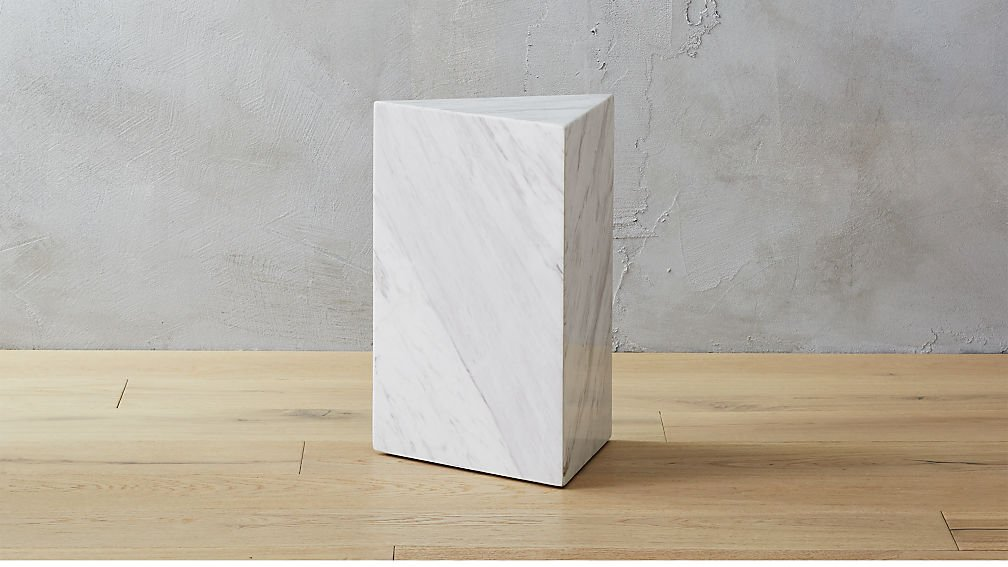 Tri white marble side table on Thou Swell #sidetable #marbletable #marble