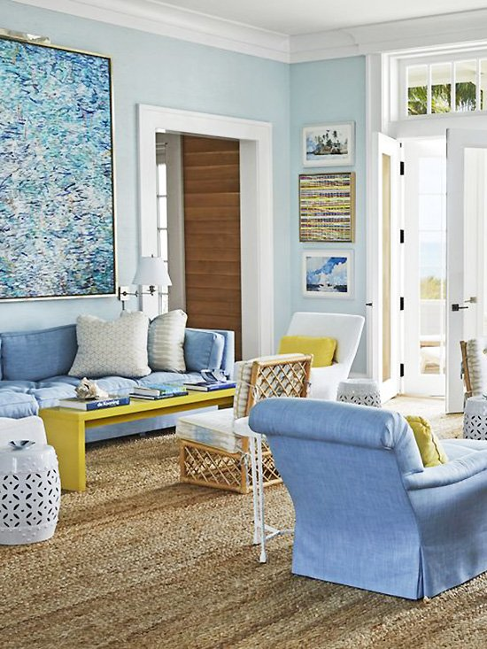 Miles Redd living room design in Bahamas home tour with blue and yellow decor on Thou Swell #livingroom #livingroomdesign #milesredd #bahamas #bluedecor #blueandyellow #coastaldesign #coastaldecor #interiordesign
