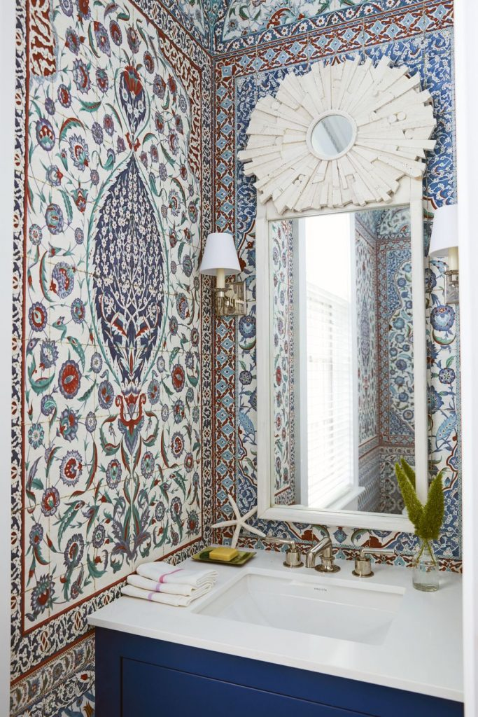 Turkish tiles wallpaper pattern in a Miles Redd powder room in the Bahamas on Thou Swell #powderroom #bathroom #wallpaper #turkish #tiles #milesredd