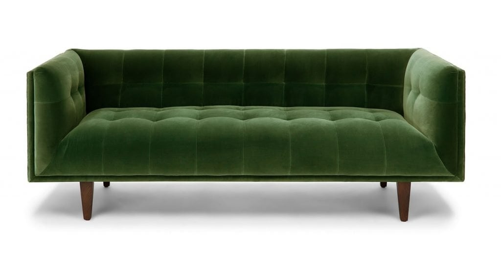 Cirrus green velvet modern tufted shelter sofa from Article on Thou Swell
