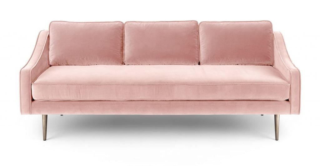Mirage blush pink velvet modern three seat sofa from Article on Thou Swell