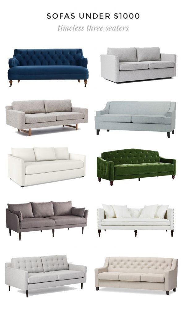 Sofas under $1000, living room sofa roundup, neutral sofa, traditional sofa, velvet sofa on Thou Swell #sofa #sofas #sofaroundup #livingroom #livingroomsofa #livingroomdesign #roundup #interiordesign #homedecor #furniture