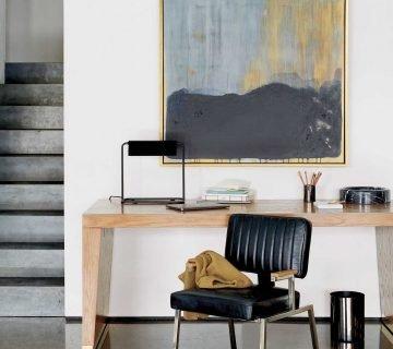 Modern desk in GQ x CB2 furniture collection on Thou Swell @thouswellblog #homedecor #decor #furniture #furnituredesign #gq #cb2 #office #homeoffice #modernoffice #desk #moderndesk