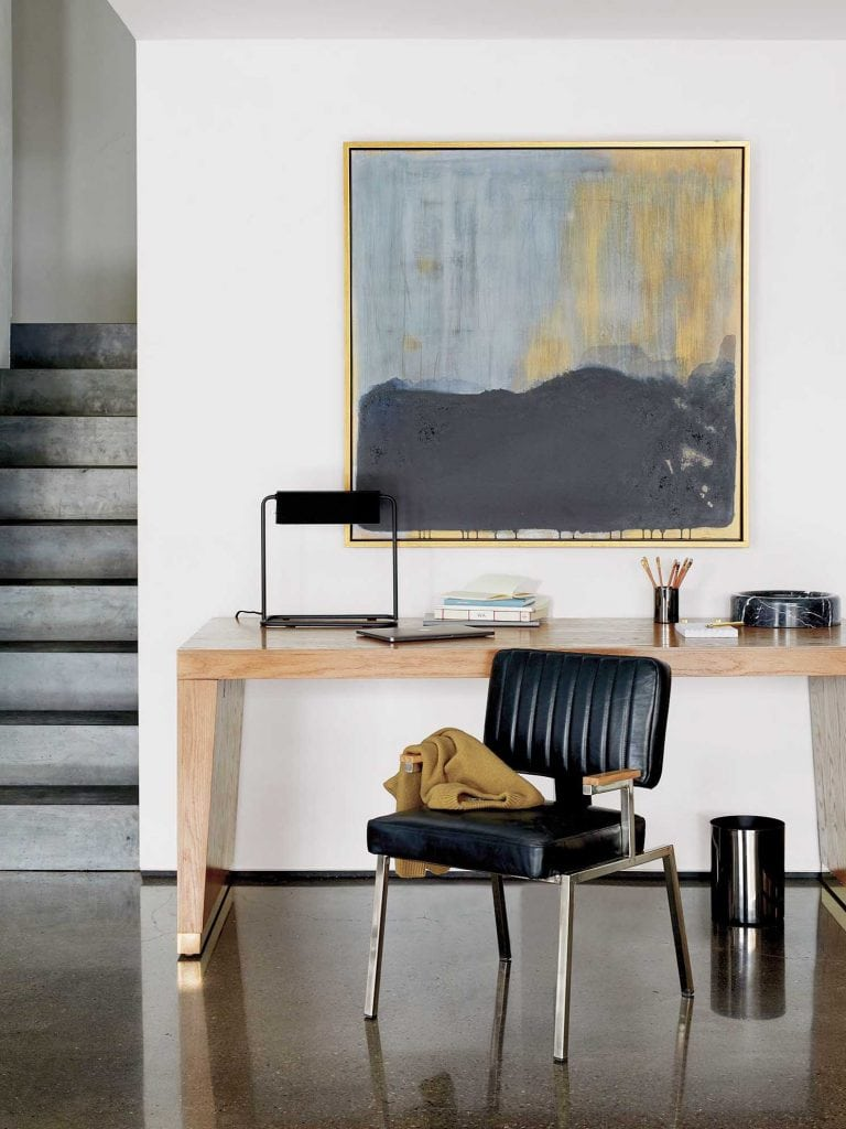 Modern desk in CB2 x GQ furniture collection on Thou Swell @thouswellblog #homedecor #decor #furniture #furnituredesign #gq #cb2 #office #homeoffice #modernoffice #desk #moderndesk