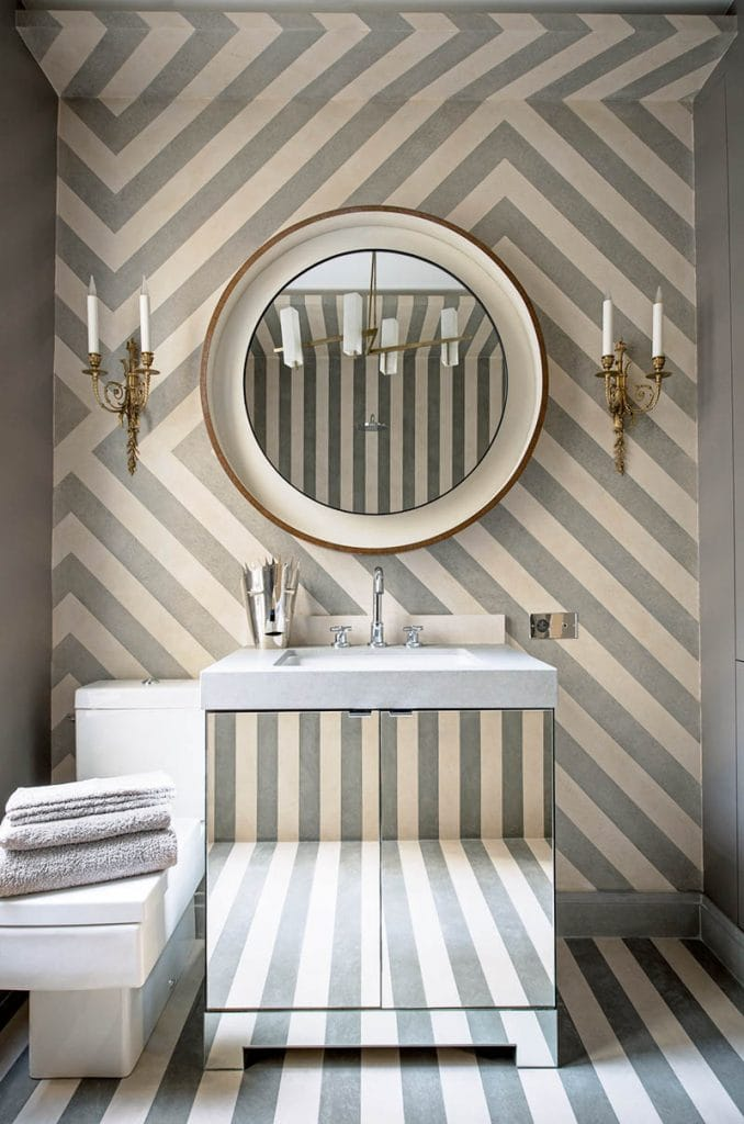 Cream and grey stone striped bathroom design by Jean-Louis Deniot on Thou Swell #bathroom #bathroomdesign #jeanlouisdeniot #stripes #stripedwalls #moderndesign #interiordesign