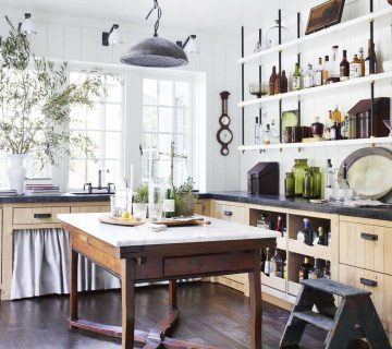 Historic 100-year-old Tudor house renovation in Atlanta by Amy Morris and Stan Dixon, featuring a scullery with custom open shelving and vintage accents on Thou Swell @thouswellblog #tudor #tudorhouse #renovation #historichouse #historichome #atlantahome #atlantahomes #interiordesign #traditionaldesign #vintagedesign