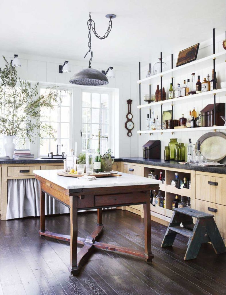 Historic 100-year-old Atlanta Tudor house renovation by Amy Morris and Stan Dixon, featuring a scullery with custom open shelving and vintage accents on Thou Swell @thouswellblog #tudor #tudorhouse #renovation #historichouse #historichome #atlantahome #atlantahomes #interiordesign #traditionaldesign #vintagedesign