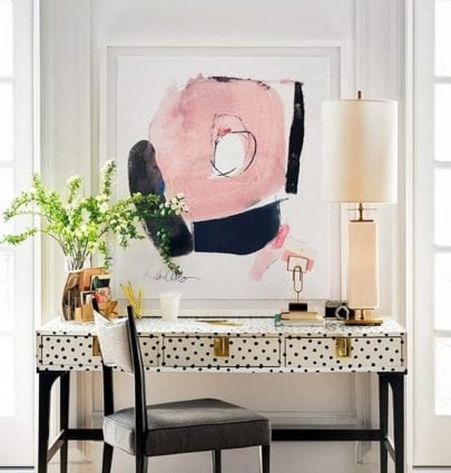 Modern spotted desk by Kate Spade with unique furniture hardware on Thou Swell #furniture #design #hardware #furniturehardware #uniquehardware #desk #office #homeoffice #design #homedecor