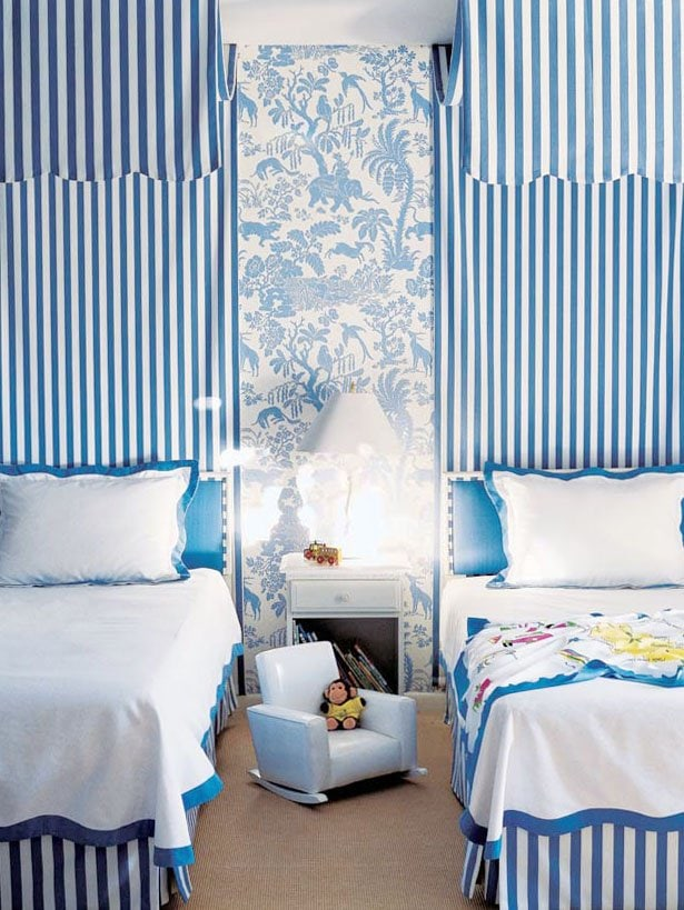 Blue and white kids bedroom with striped canopies and floral wallpaper by Alessandra Branca on Thou Swell #stripes #blueandwhite #stripedroom #stripedbedroom #stripedcanopy #canopy #kidsbedroom #kidsroom #interiordesign #bedroomdesign