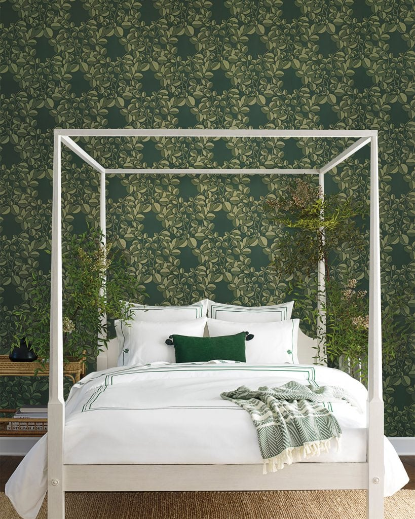 Green bedroom design with leaf wallpaper and white canopy bed from Serena & Lily on Thou Swell #bedroom #bedroomdesign #bedroomstyle #greenroom #greenbedroom #green #wallpaper #greenwallpaper #homedecorideas