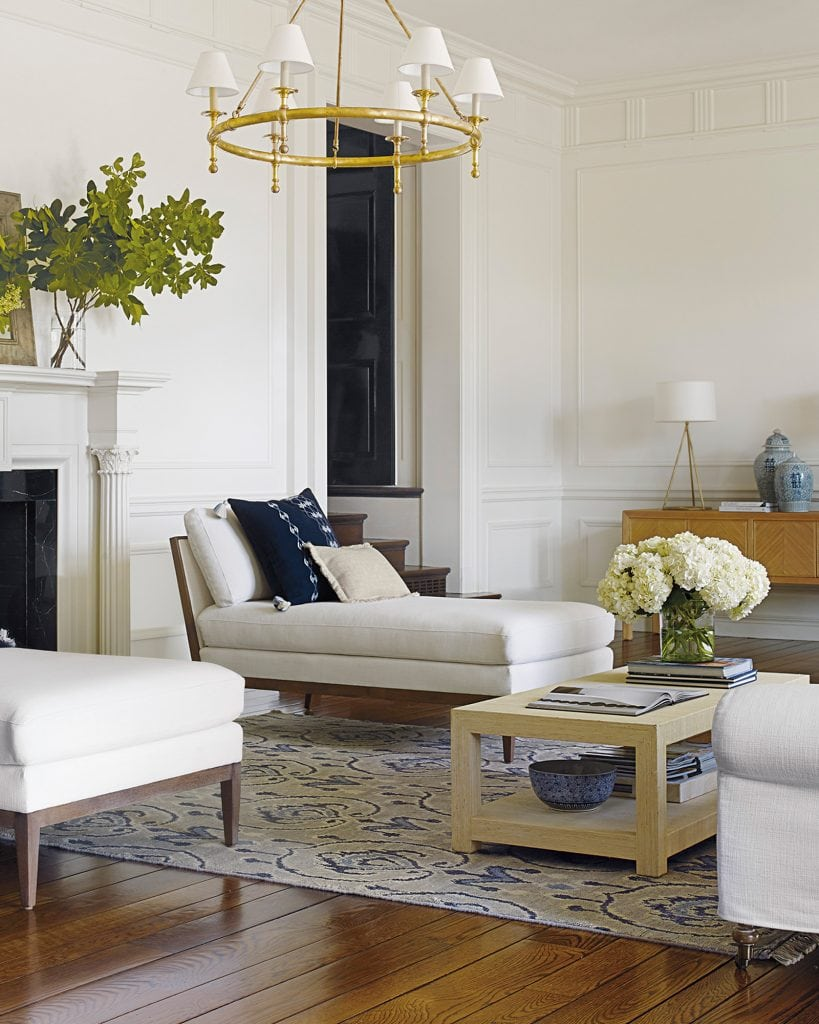 Elegant living room with pair of chaises beside fireplace from Serena & Lily on Thou Swell #livingroom #livingroomdesign #livingroomideas #chaise #chaiselounge #homedecor #furniture