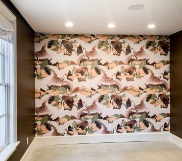 Apartment study wallpaper install with Cranes by Milton and King on Thou Swell #study #studydesign #apartmentdesign #apartment #wallpaper #wallpaperinstall #miltonandking #cranes