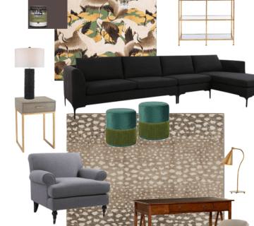 Apartment study design board with crane wallpaper, antelope rug, and black sectional by Kevin O'Gara on Thou Swell #interiordesign #designboard #roomdesign #studydesign #librarydesign #homedesign