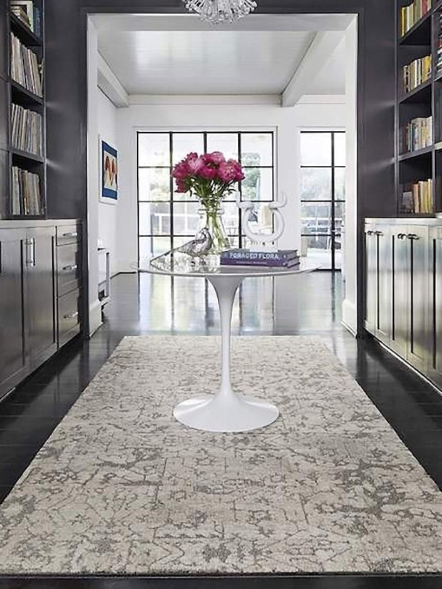 Flor rug tiles modular carpet squares in butler's pantry hallway on Thou Swell #butlerspantry #pantry #cabinetry #rugtiles #flor #interiordesign #homedesign #homedecor #carpettiles
