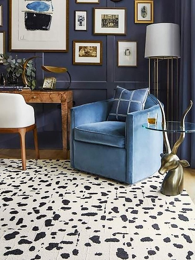 Flor rug tiles modular carpet squares in home office dark moody study with blue walls on Thou Swell #homeoffice #study #studydesign #officedesign #rugtiles #flor #interiordesign #homedesign #homedecor #carpettiles