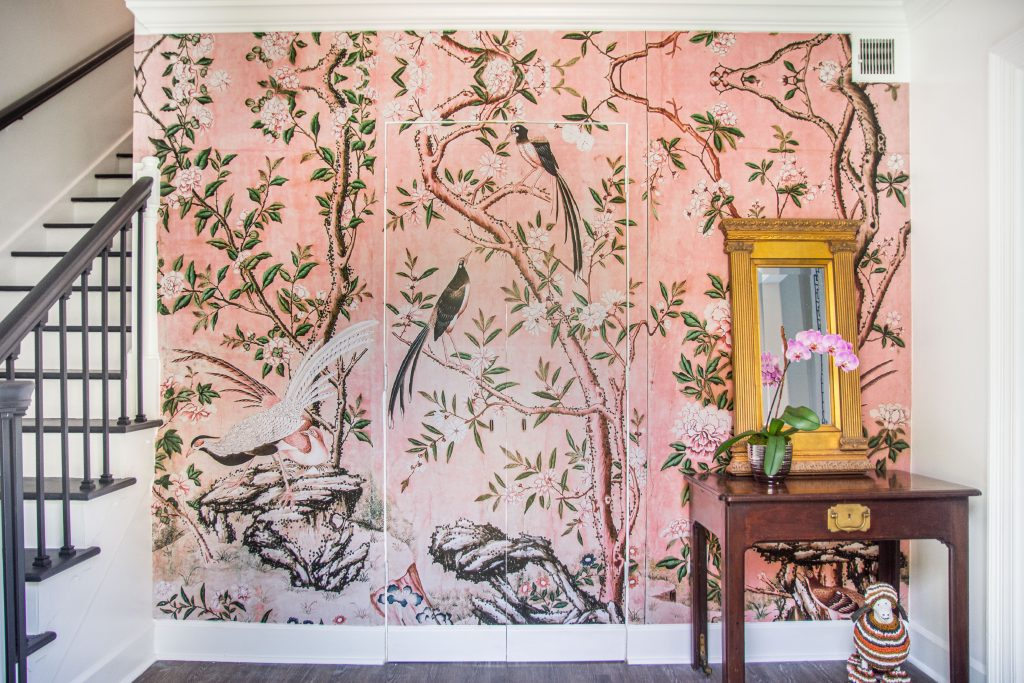 Dove Hill entryway pink chinoiserie Magnolia mural by Anewall on Thou Swell #entryway #wallpaper #mural #pinkmural #chinoiserie #entry #entryway