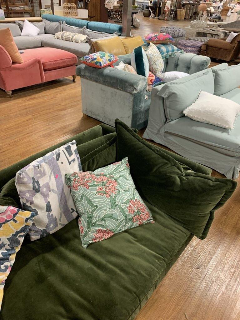Anthropologie outlet in Augusta, GA green velvet sofa on Thou Swell