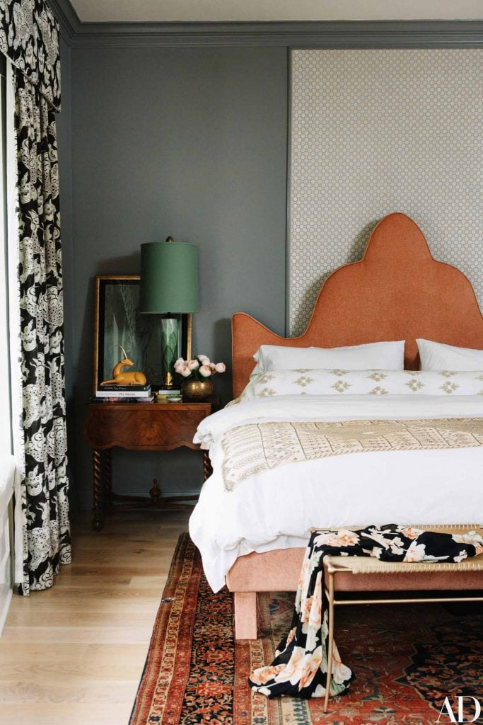 Green grey bedroom design in Nashville with orange headboard and green lampshade on Thou Swell #bedroom #bedroomdesign #nashville #homedesign #homedecor