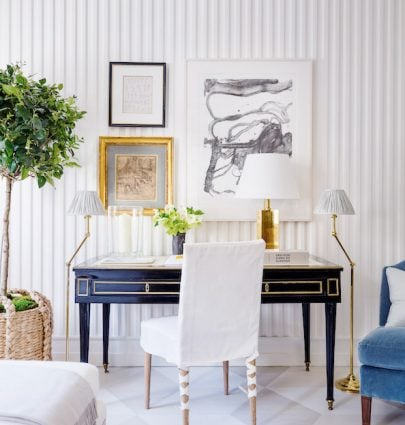 Stylish home office desk decor with painted floor, gallery wall, and fluted walls on Thou Swell #homeoffice #desk #workfromhome #deskdecor #officedesign #officedecor #bedroomdesk #homedesign #homedecor