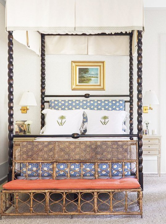 Master bedroom canopy bed in a tropical house in South Carolina full of wallpaper, Southern home tour on Thou Swell #tropicalhouse #tropicalwallpaper #wallpaper #southernhouse #homedecor #homedesign #housetour #interiordesign