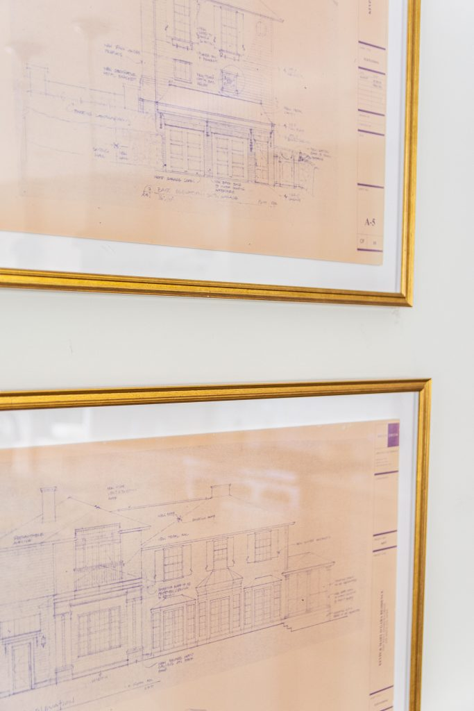 Architectural drawings in gold frames by Framebridge on Thou Swell #frames #framing #goldframe #homedecor #homedecorideas