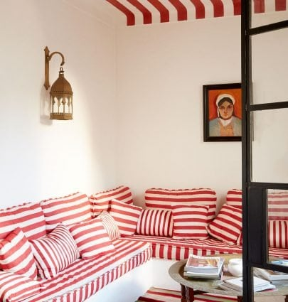 Inside Tangiers book - red striped banquette design on Thou Swell