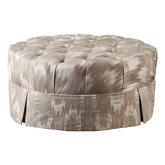 Sheath round tufted cocktail ottoman by Baker furniture