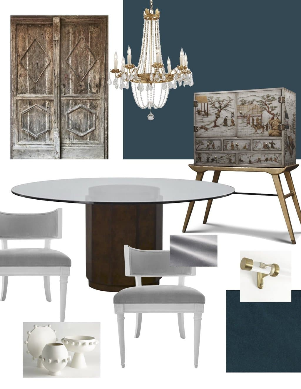 Dining room design board for the One Room Challenge by Kevin O'Gara with crystal chandelier, round pedestal table, Klismos chairs, and antique French doors  on Thou Swell
