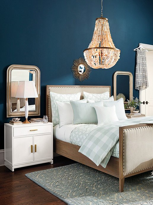 Sherwin Williams Rainstorm blue paint with Ballard Designs bedroom design, wall paint ideas on Thou Swell