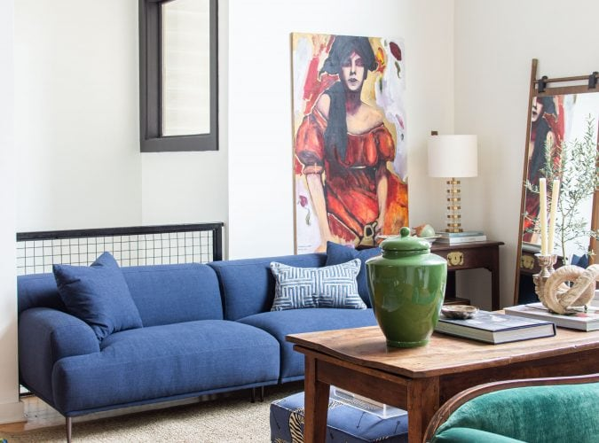 Modern living room design with blue sofa and armchair from Article, Abisko sofa and chair, navy blue sofa, townhouse design ideas by Kevin O'Gara on Thou Swell #article #myarticle #abiskosofa #bluesofa #moderndesign #livingroom #livingroomdesign #homedecor #homedecorideas