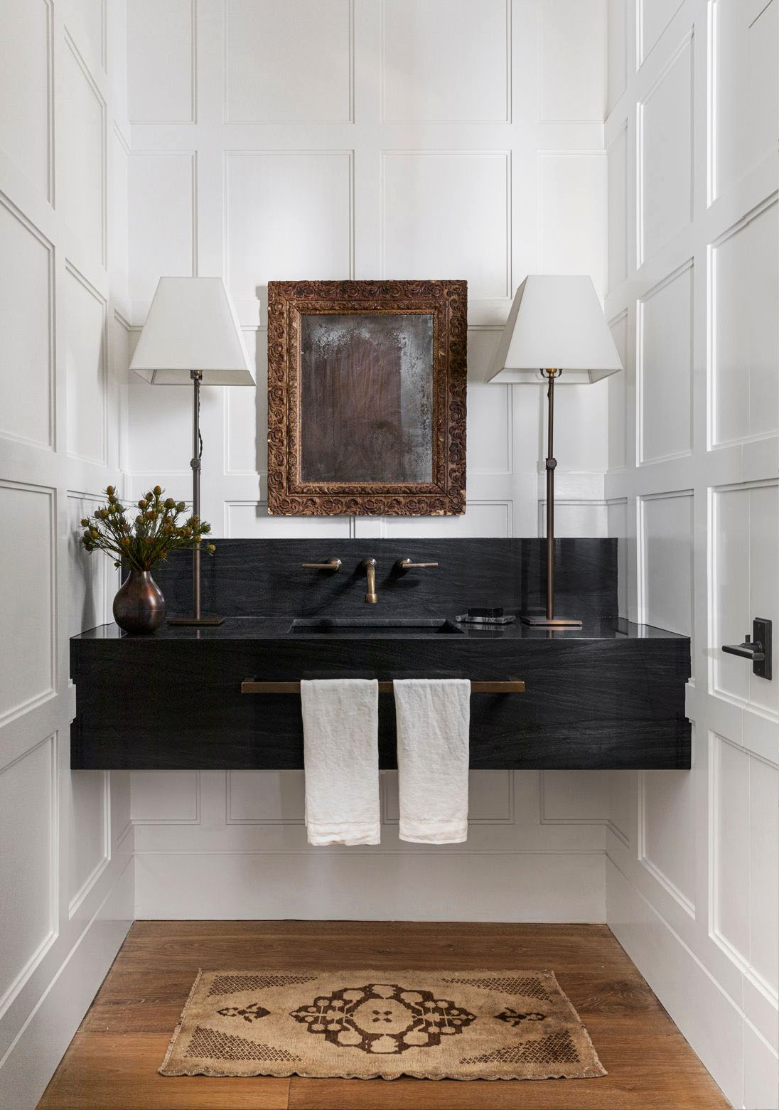Houston home tour full of warm textures by Marie Flanigan, modern Houston house, powder room design on Thou Swell #powderroom #bathroom #bathroomdesign #powderroomdesign #homedesign #homedecor
