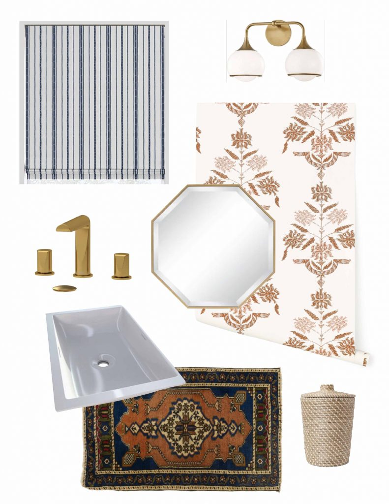 Powder bathroom design board with gold Riobel Parabola faucet, coral wallpaper, Victoria+Albert sink, and blue and white roman shade on Thou Swell #powderroom #powderbathroom #powderbath #bathroom #bathroomdesign #bathroomdecor #bathroomideas #renovation